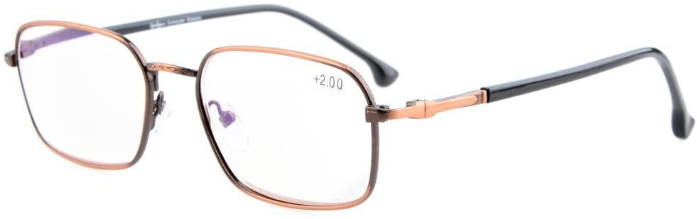 Eyekepper Retro Spring Hinges Computer Readers Glasses Anti Harmful Glare & Anti UV Blue Light Computer Glasses Readers Anti Bronze +0.75