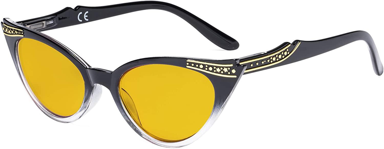 Eyekepper Ladies Blue Light Blocking Glasses with Amber Filter Lens - Cateye Computer Eyeglasses Women - Black-Transparent