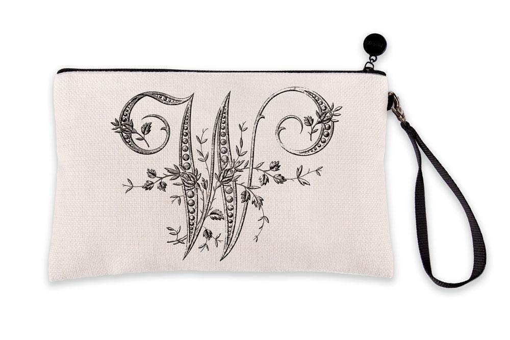 Di Lewis Personalized Makeup Bag for Women – Letter W French Monogram - Small Travel Organizer Toiletry Cosmetic Pouch – Best for Bridal, Bridesmaid, Teacher Gifts – 6x9 in