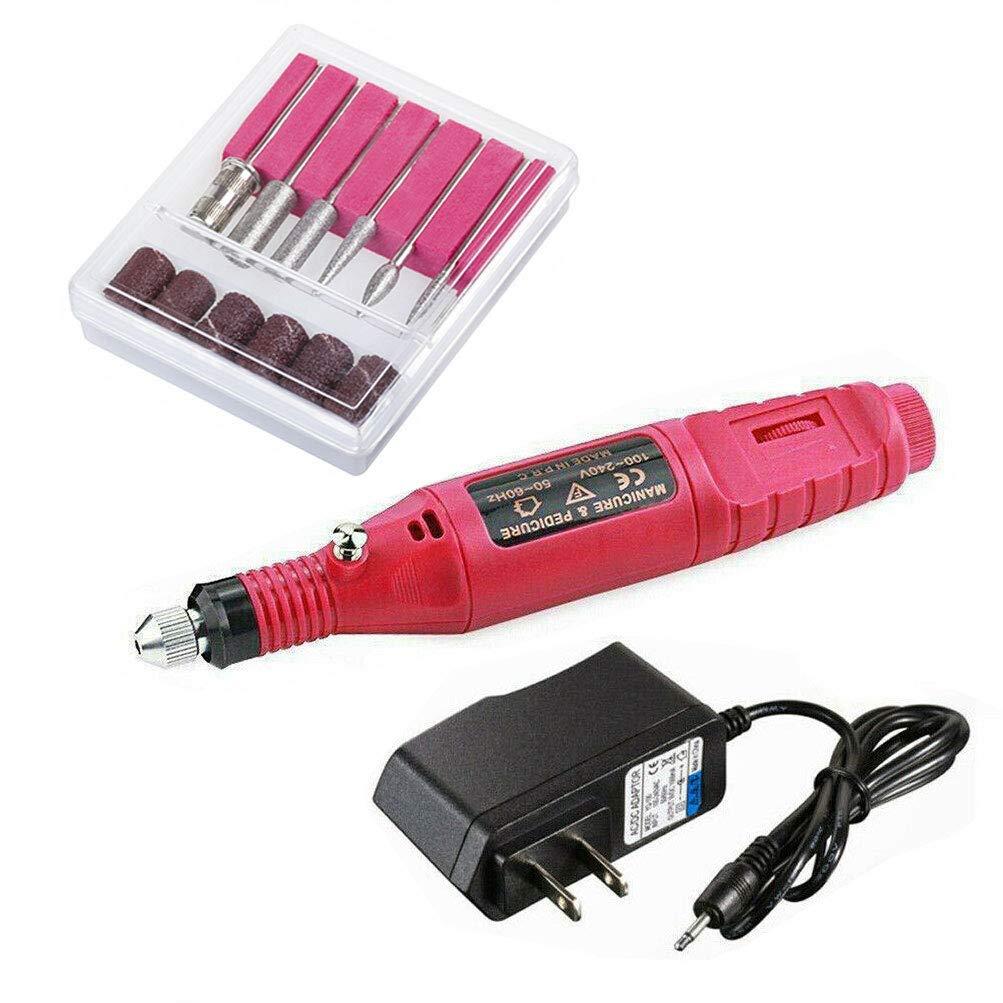 Acrylic Nail Tools,Electric Nail Drill(Red), Professional Portable Electric Nail Kit Pen Shape Finger Toe Nail Care, Electric Nail Polishing Machine, File Nail Tips Manicure Pedicure Machine set