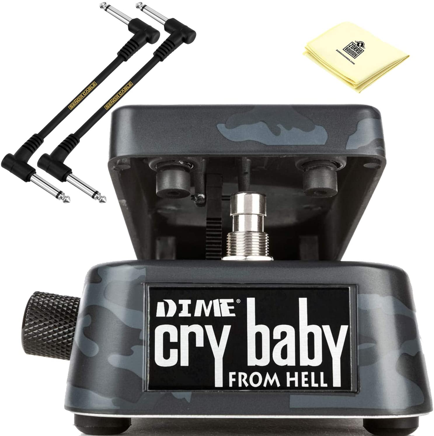 Dunlop DB01B Dimebag Cry Baby From Hell Wah Pedal with LED Indicators, 6-way Frequency Selector and Toe-down Frequency Control BUNDLE with 2 x Senor Patch Cables and Zorro Sounds Guitar Polish Cloth