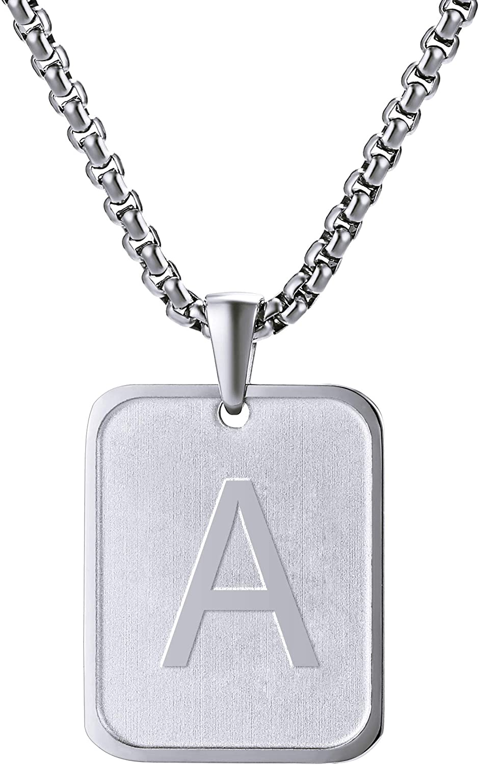 JF.JEWELRY Initial Letter Pendant with 26 Letters A-Z Monogram Necklace for Men Womens Charming Capital Letter Stainless Steel Pendant Great Gifts to Families and Friends,20-26 Inch,Free to Customize