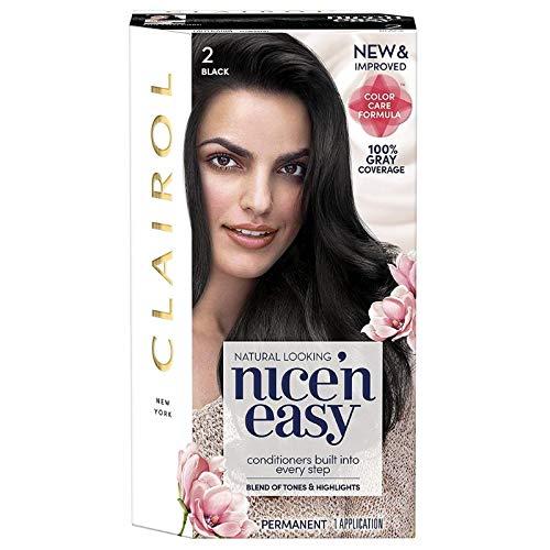 Clairol Nice'n Easy Permanent Hair Color, 2 Black, 3 Count