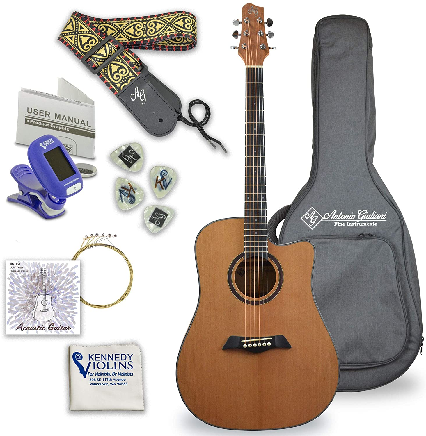 Antonio Giuliani Acoustic Mahogany Guitar Bundle (Clear) (DN-1) - Dreadnought Guitar with Case, Strap, Tuner, Strings and Accessories By Kennedy Violins