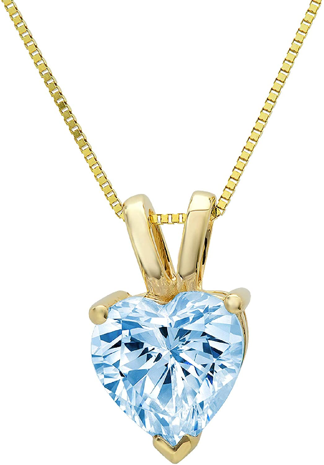1.95 ct Brilliant Heart Cut Aquamarine Blue Simulated diamond Cubic Zirconia Ideal VVS1 D Solitaire Pendant Necklace With 16 Gold Chain box Solid Real 14k Yellow Gold