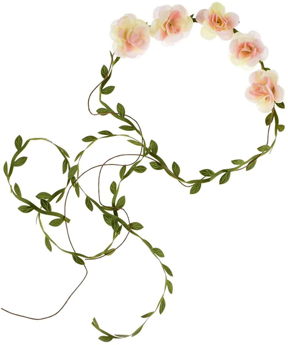 DDazzling Flower Girl Halo Floral Wreath Headband Floral Garland Headbands Photo Props