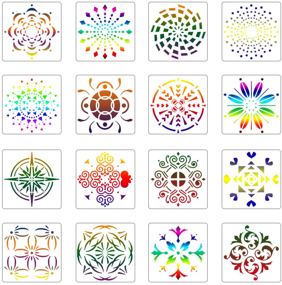 16 Pack Mandala Dot Painting Templates Stencils, DIY Hollow Painting Template for Rock Painting Art Projects on Wood, Metal, Glass, Fabric and Walls Art (5.1x5.1inch)