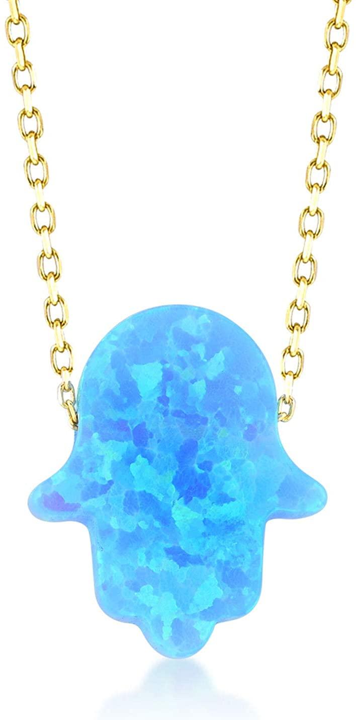 GELIN 14k Solid Gold Opal Pendant Chain Necklace - Opal Jewelry for Women