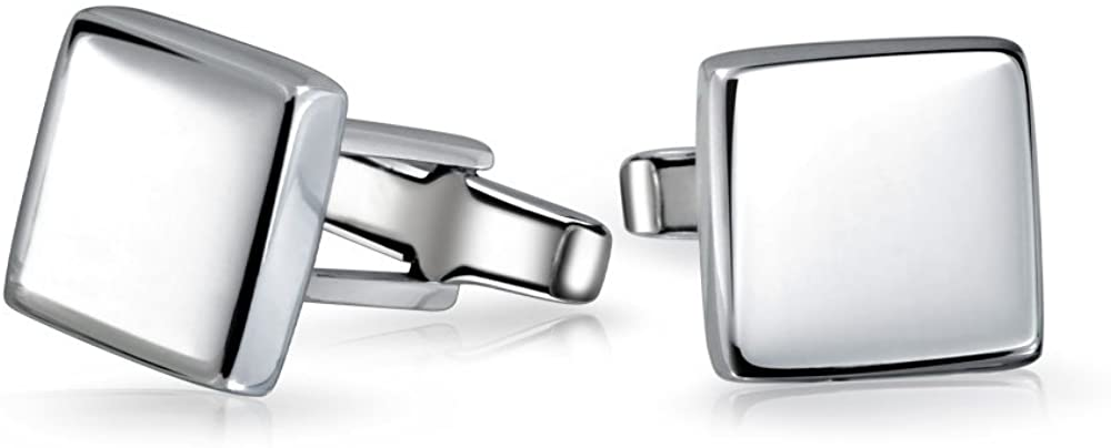 Personalized Geometric Solid Flat Square 925 Sterling Silver Shirt Cufflinks For Men Cuff Links Executive Gift Hinge