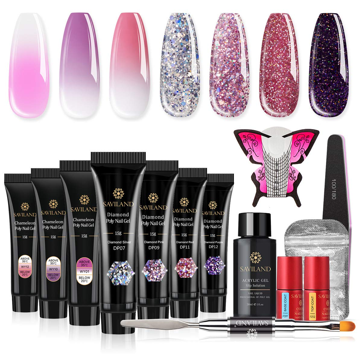 Saviland Poly Nail Gel Kit - Glitter and Color Changing Poly Nail Gel 7 Colors Extension Gel Nail Enhancement Manicure Kit for Gel Polish Starter and Professional Nail Technician
