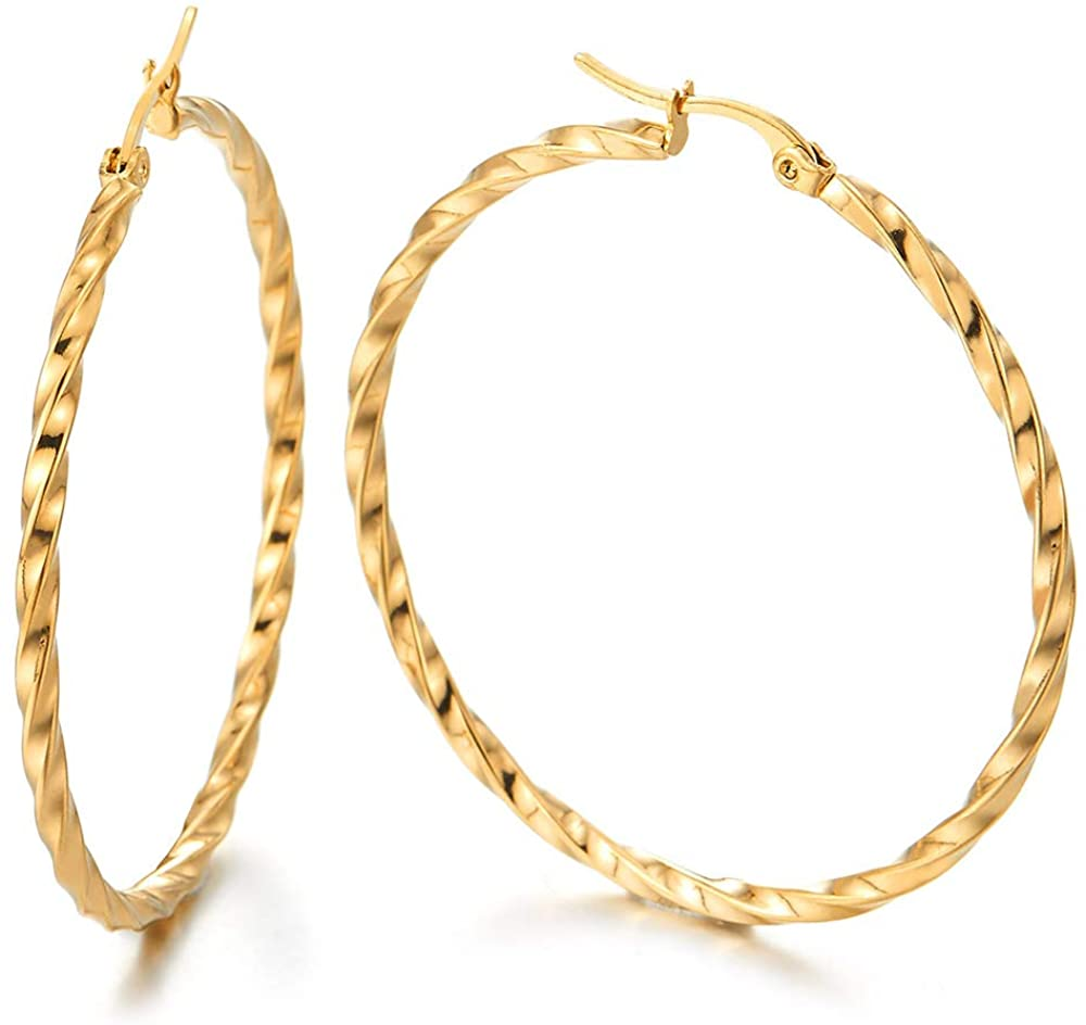 Pair Stainless Steel Gold Color Large Twisted Circle Huggie Hinged Hoop Earrings for Women