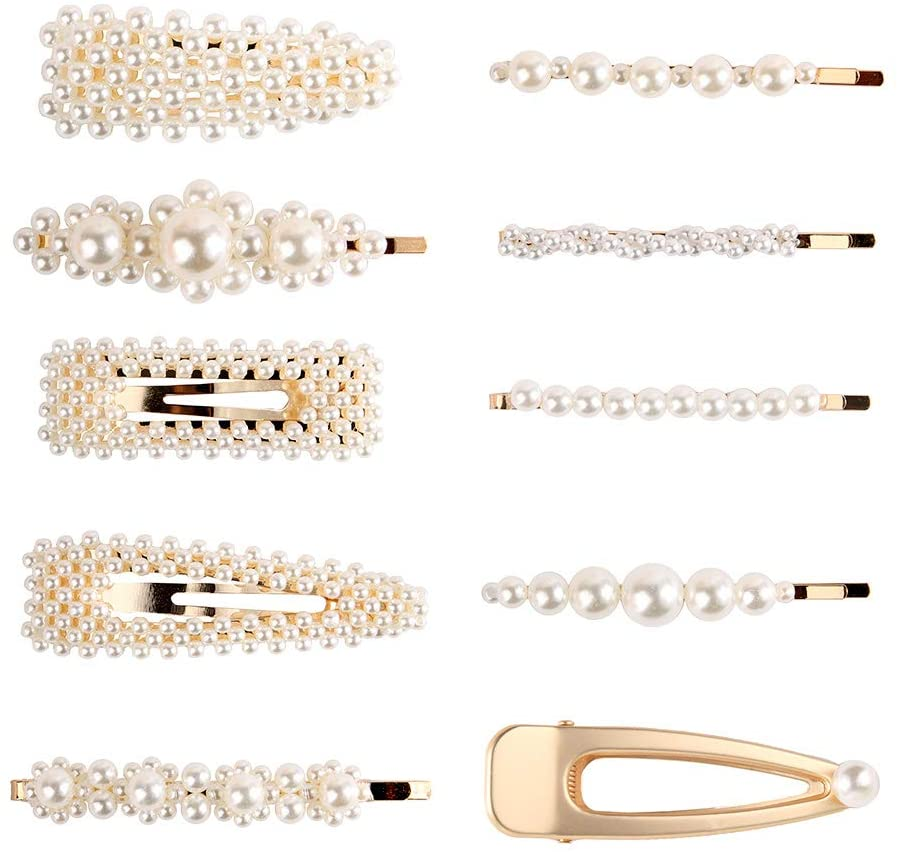 Galaxia Air Pearl Hair Clips for Women Girls Hair Decorative Pearl Alligator Clips Fashion Styles for Party Wedding Daily