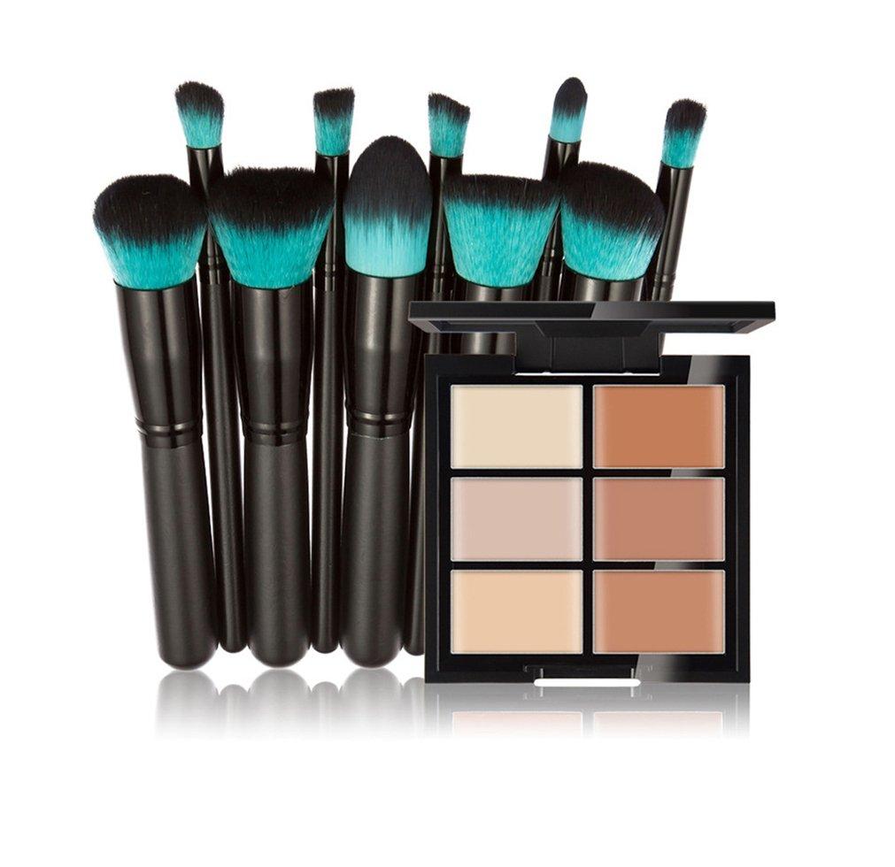 FantasyDay Makeup Gift Set 6 Colors Cosmetics Cream Contour and Highlighting Makeup Kit - Contouring Foundation/Concealer Palette Highlighter Correctors + 10 Pcs Makeup Brushes Kit #2