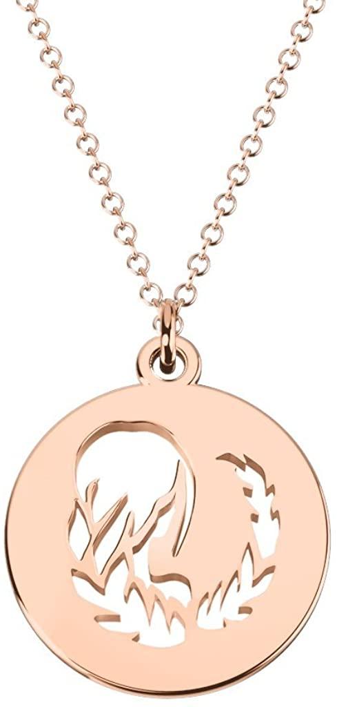10K Gold Virgo Zodiac Sign Cutout Disc Necklace by JEWLR