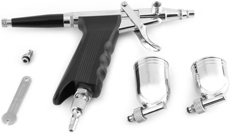 Spray Painting Airbrush, Multi-Purpose 2 Cups Side Feed Spray Gun Trigger Airbrush for Art Painting 166 Durable Use