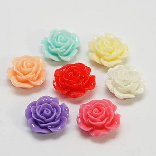 PEPPERLONELY Brand 20PC Mixed Color Flat Back Flower Resin Cabochons 14x6mm(9/16 x 1/4 Inch)