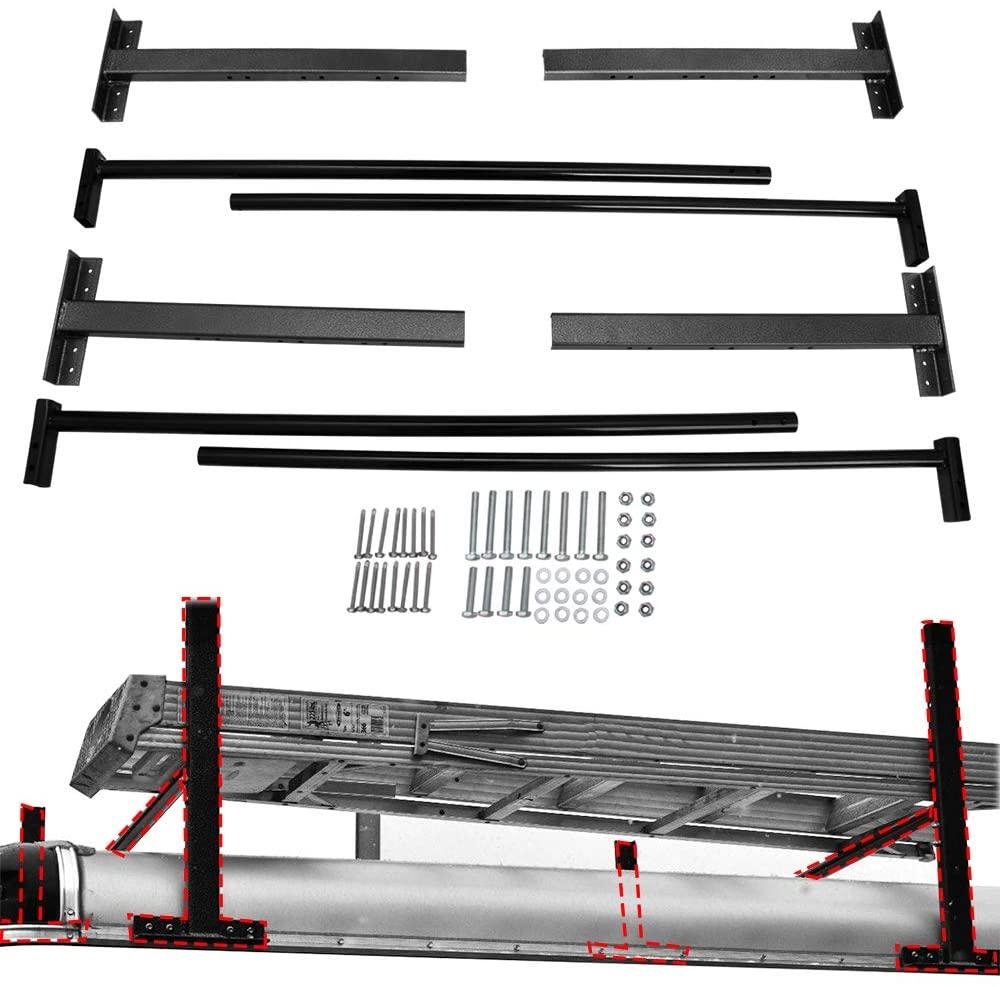 Lonwin Adjustable Roof Ladder Racks Fit for 4'-7' Enclosed Trailers Vans