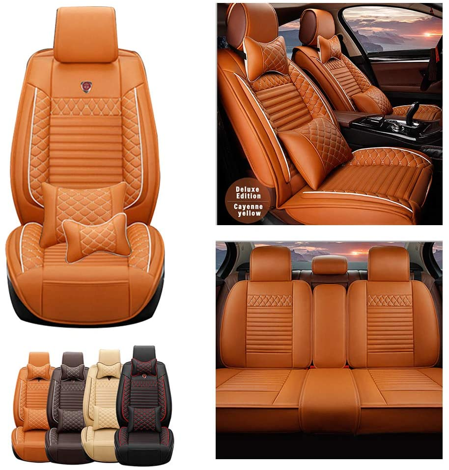 Jiahe Car Seat Covers for Dodge Caliber 5seat Full Set Seat Protector Luxury (with 2 x Headrest & 2 x Waistrest) Artificial Leather Front & Rear Set Universal Cayen Yellow