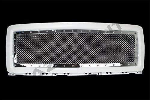 Razer Auto White Outer Shell with Triple Chrome plated Rivet Studded Frame Mesh Grille Complete Factory Replacement Grille Shell for 2014-2015 Chevy Silverado 1500 Summit