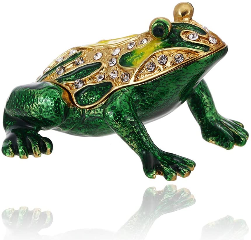 Hand Painted Frog Trinket Box, Hinged Enameled Jewelry Box, Unique Mini Ring Earrings Jewelry Organizer, Vintage Bejeweled Storage, Figurine Collectible Keepsake Home Decor (Frog-1)