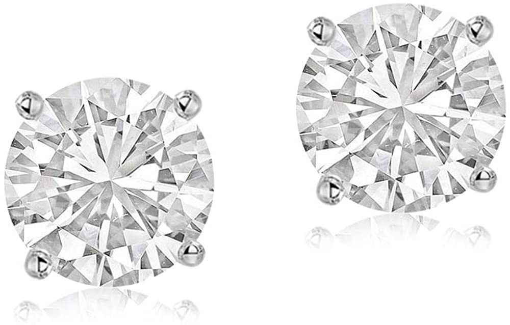 Made in US Lab Grown Diamond Earrings IGI Certified 1/6 Carat - 4Cttw Diamond Earrings for Women 10K & 14K Gold GH-SI1 Quality Lab Created Diamond Solitaire Earrings Diamond Jewelry Gifts for Women