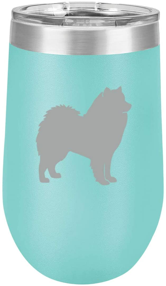 16 oz Double Wall Vacuum Insulated Stainless Steel Stemless Wine Tumbler Glass Coffee Travel Mug With Lid Samoyed (Teal)