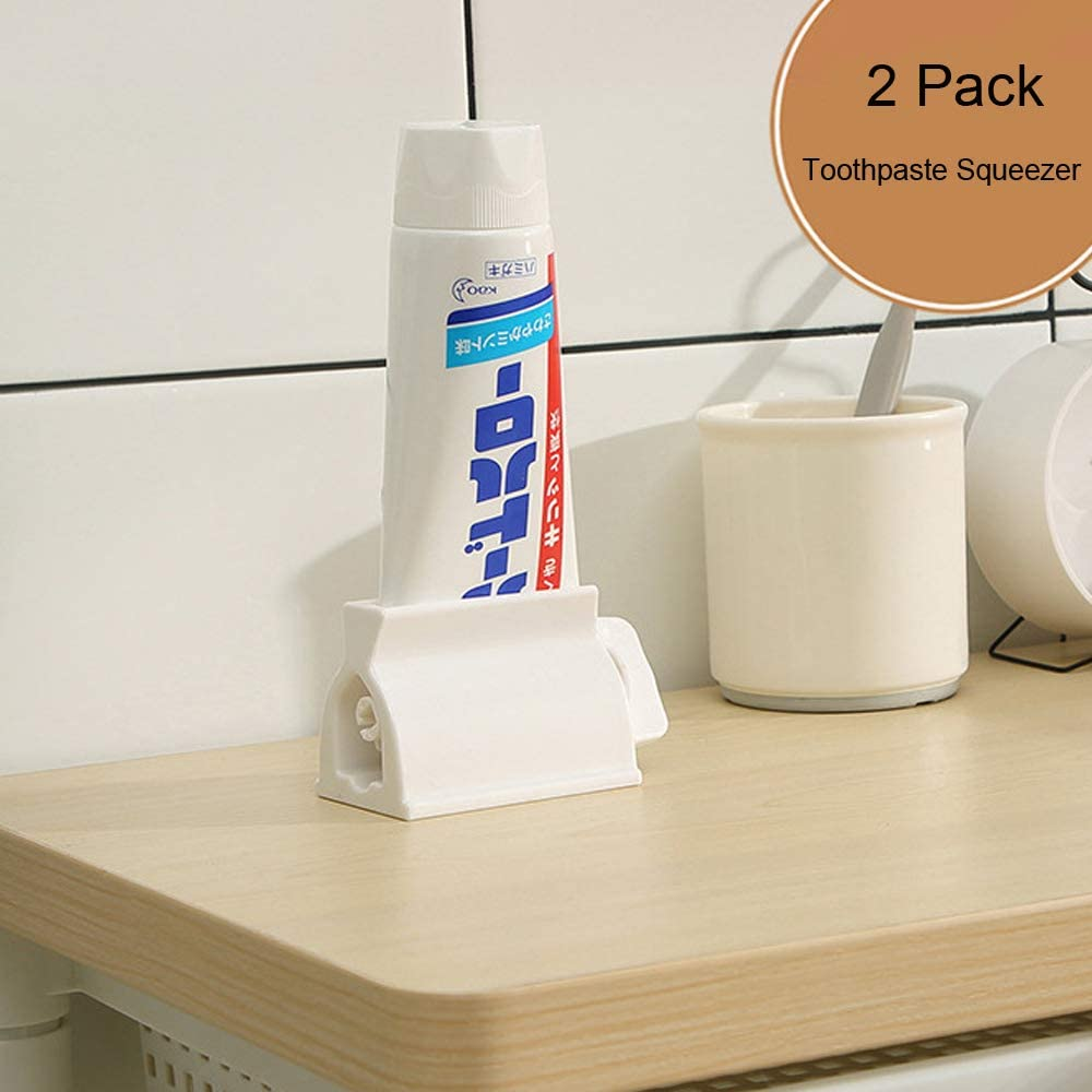 Miracle Toothpaste Squeezer Set of 2 Rolling Tube Toothpaste Holder Stand Bathroom Organizer (White) (2Pack-White)