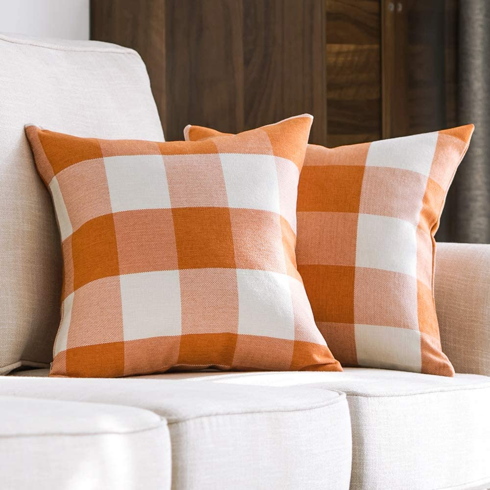 MIULEE Pack of 2 Fall Decorative Classic Retro Checkers Plaids Throw Pillow Covers Cotton Linen Soft Soild Pillow Case Orange Cushion Case for Sofa Bedroom Car 18 x 18 Inch 45 x 45 cm