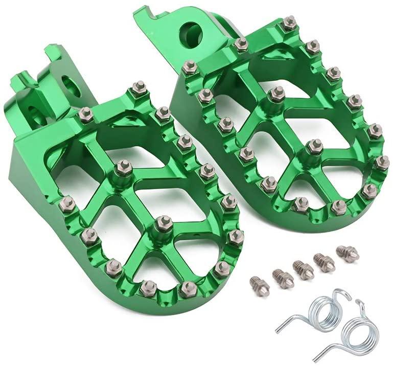 Billet MX Wide Foot Pegs Footpegs Foot Pedals Rests - Kawasaki KX250F 2006-2016 KX450F 2007-2017 KLX450R 2008-2013 - Green