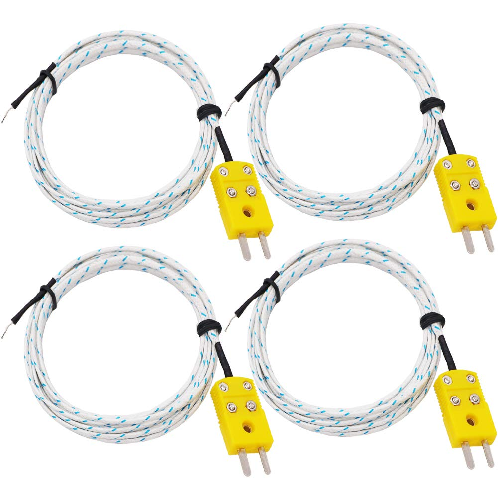 Twidec/4Pcs 3M K-Type Mini-Connector Sensor Probe for Thermocouple Thermometer&Meter ,Temperature Range: -50~400 °C(-58~752℉) TP-W-4PCS