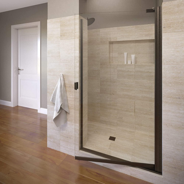 Basco Armon 31.75 to 33.25 in. width, Semi-Frameless Pivot Shower Door, Clear Glass, Oil Rubbed Bronze Finish
