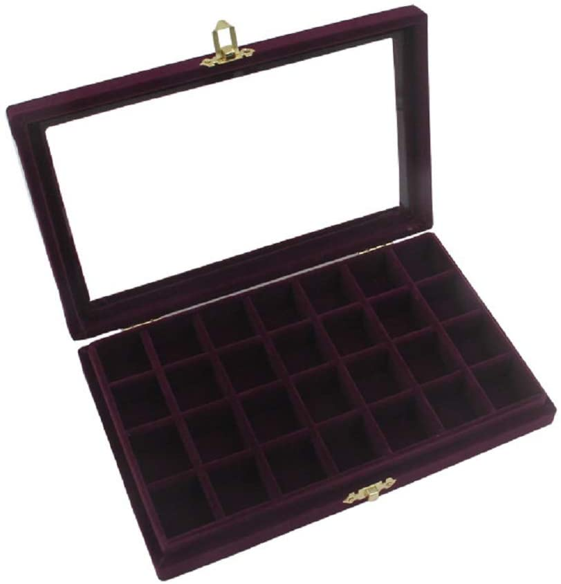 Funnuf 24 Grids Velvet Multipurpose Jewelry Display Storage Box Tray Holder with Glass Lid for Ring Earrings, Purple