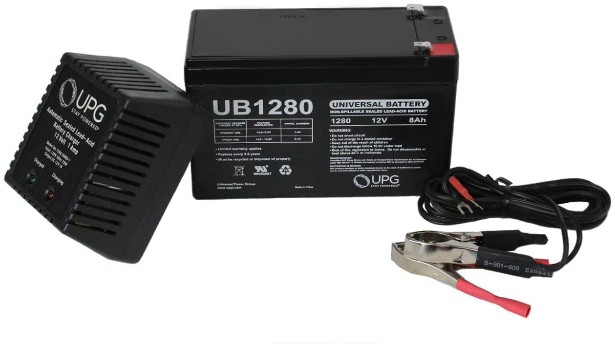 Universal Power Group 12V 8Ah Replaces JohnLite CY-0112 Emergency Light Battery - 12V 1Ah Charger