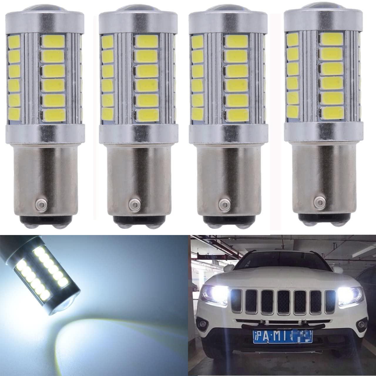 KATUR 4-Pack Super White 950Lums 1157 BAY15D 1016 1034 1196 2057 2357 Base 33 SMD 5050 LED Replacement for Car Incandescence Bulb RV Camper Brake Turn Lamp Lights DC 12V 6500K