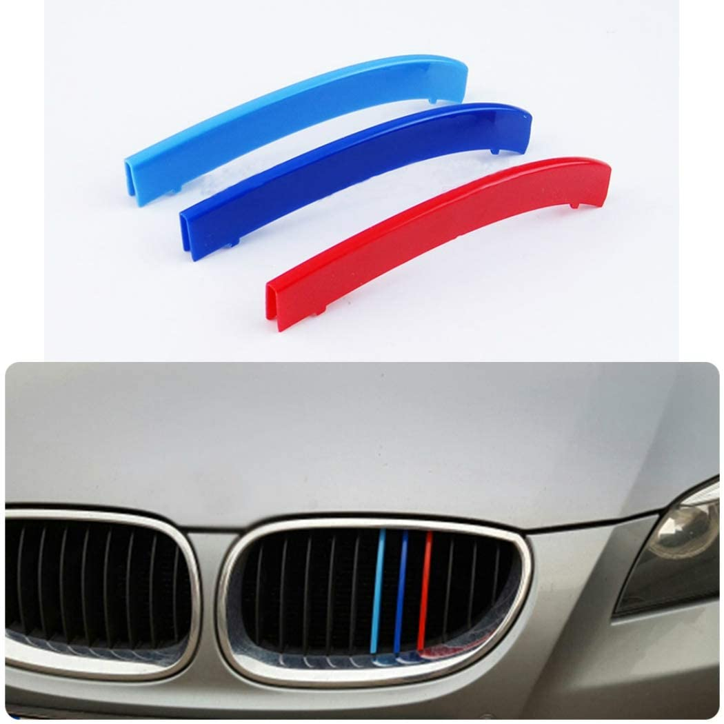 For 04-10 5 Series E60 (11 grilles) M-Colored Stripe Grille Insert Trims M Sport Strips Center Kidney Grill 3Pcs