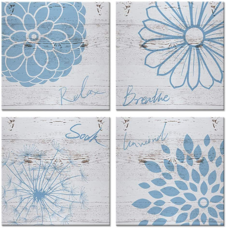 iHAPPYWALL 4 Piece Blue Flower Bathroom Wall Decor Relax Breathe Soak Unwind Sign Rustic Home Decor Stretched and Framed Ready to Hang 16