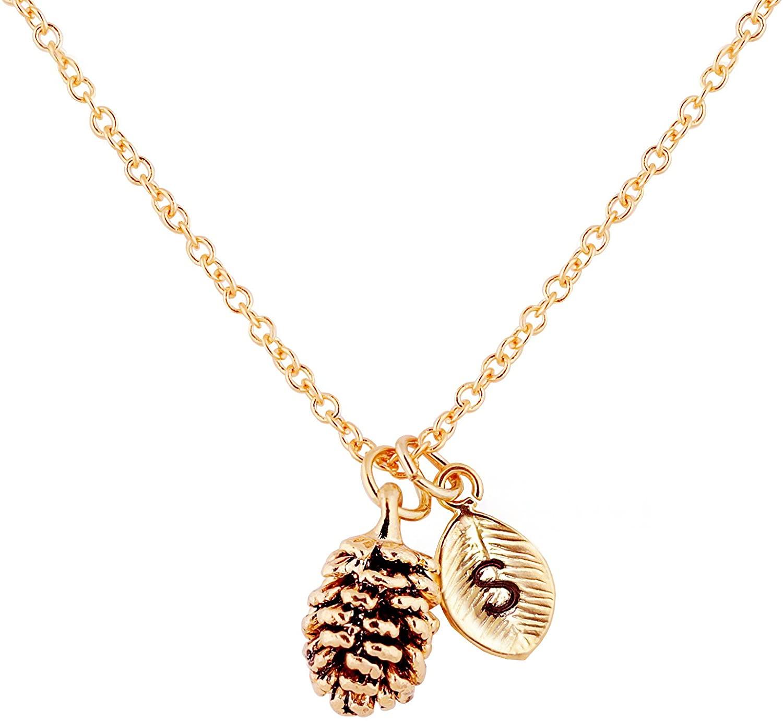 MignonandMignon Gold Dainty Pinecone Necklace Initial Necklace Nature Necklace Leaf Necklace for Her