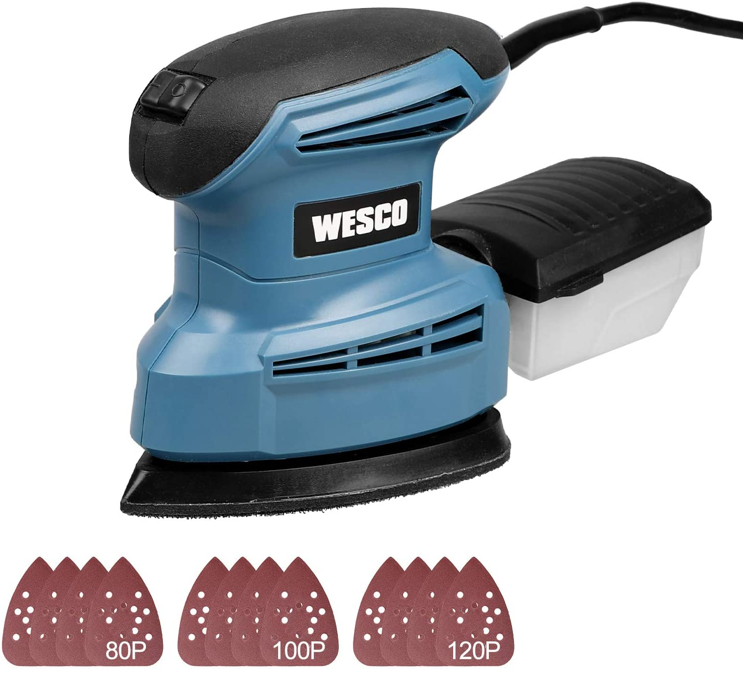 WESCO Compact 1.3A Mouse Detail Sander with 12Pcs Sandpapers, 14,000 RPM, Efficient Dust Collection System, for Detail Sanding in Home Decoration /WS4067U
