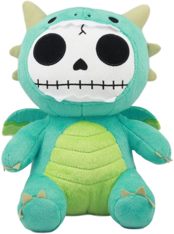 Ebros Larger Furry Bones Skeleton Teal Scorchie Dragon Plush Toy Doll Collectible 9.5
