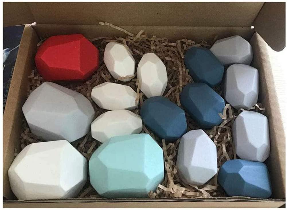 Gupgi Wooden Building Blocks Set Lightweight Natural Balancing Blocks Colored Wooden Stones Stacking Game Rock Blocks Educational Puzzle Toy (Colorful Blue , 16pcs )