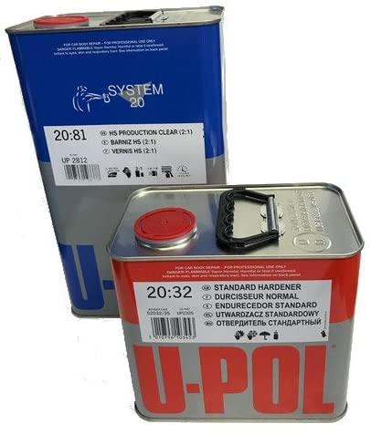 U-Pol 2812 Clear System 2081 Hs Coat Paint, 5 Liter, with 2.5 Liter Hardener (MEDIUM HARDENER)