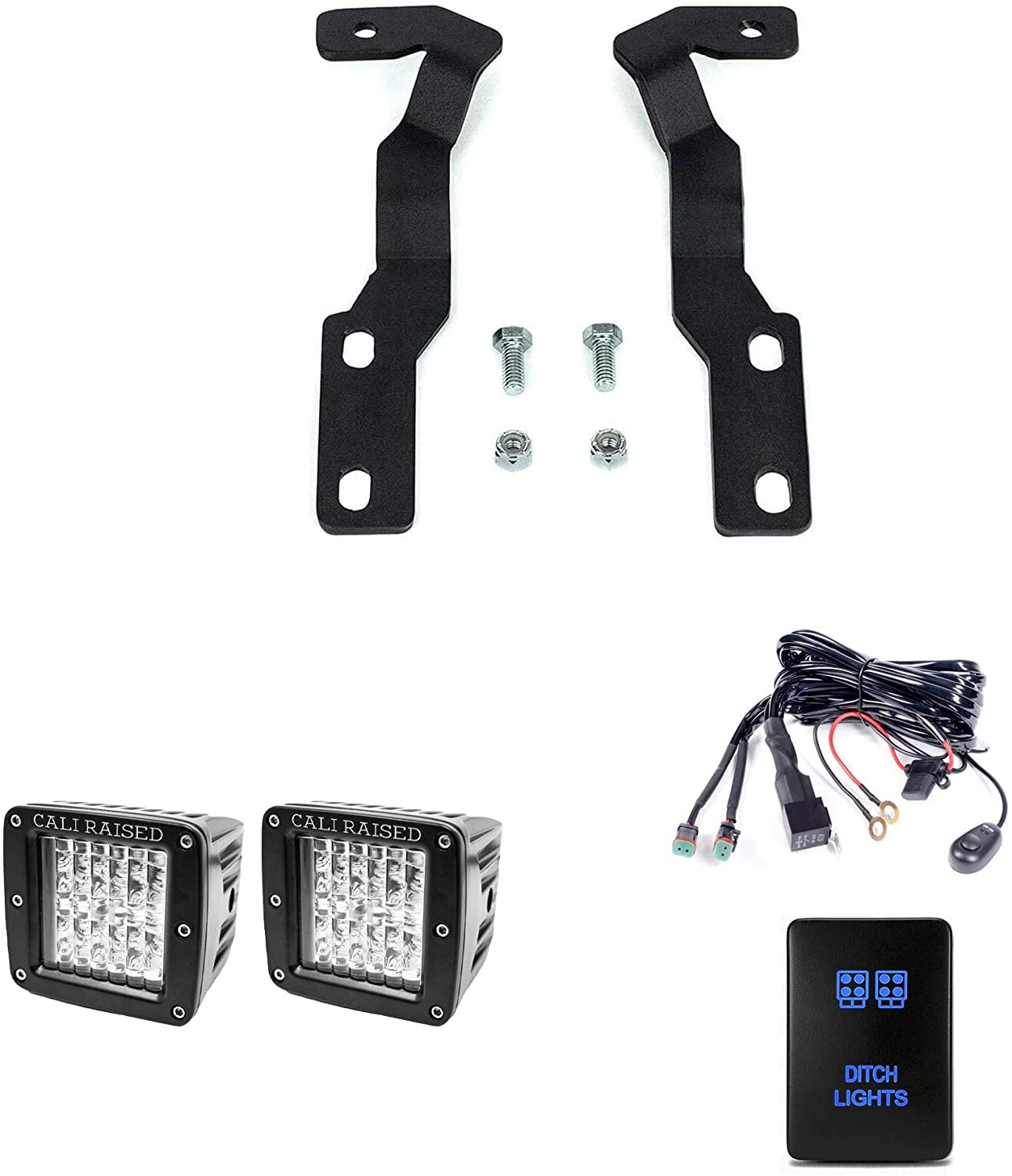 """Hood Mount Low Profile Ditch Light LED Pods Brackets  3x2 18W LED Pods  OEM Style Small """"Ditch Lights"""" Switch (Blue Backlight)  With Dual Wiring Harness  Fits 2016-2020 Toyota Tacoma"""