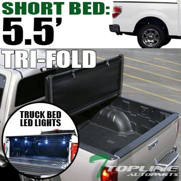 Topline Autopart Tri Fold Soft Vinyl Tonneau Cover & Truck Bed LED Lighting System For 04-14 Ford F150 Super Crew (Crew) Cab Short Bed / 06-08 Lincoln Mark LT 5.5 Feet (66