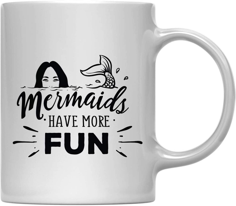 Andaz Press 11oz. Coffee Mug Gift, Mermaids Have More Fun, 1-Pack, Birthday Christmas Outdoors Lemonade Cup with Gift Box