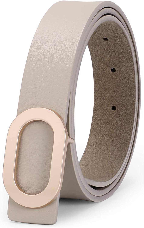 Women PU Leather Belt for Jeans-Women Dress Belt-Ladies PU Leather Belts with Golden Alloy Buckle