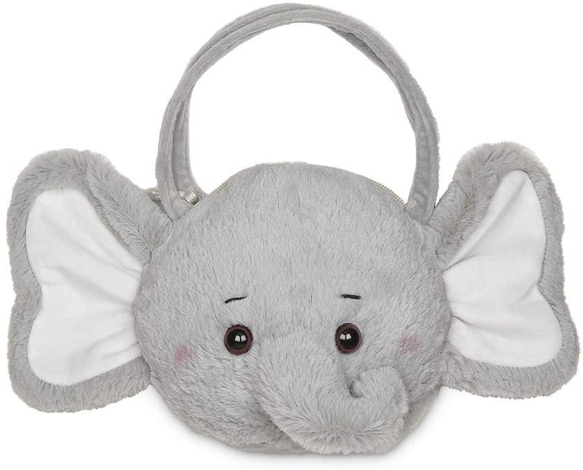 Bearington Spout Carrysome Girls Plush Gray Elephant Stuffed Animal Purse, Handbag 7 inches
