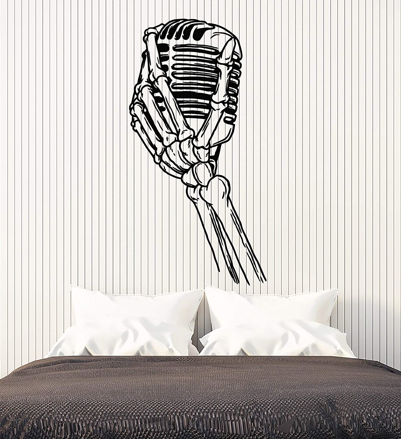 Vinyl Wall Decal Bony Hand With Retro Microphone For Jazz Bar Stickers Large Decor (2871ig) Black