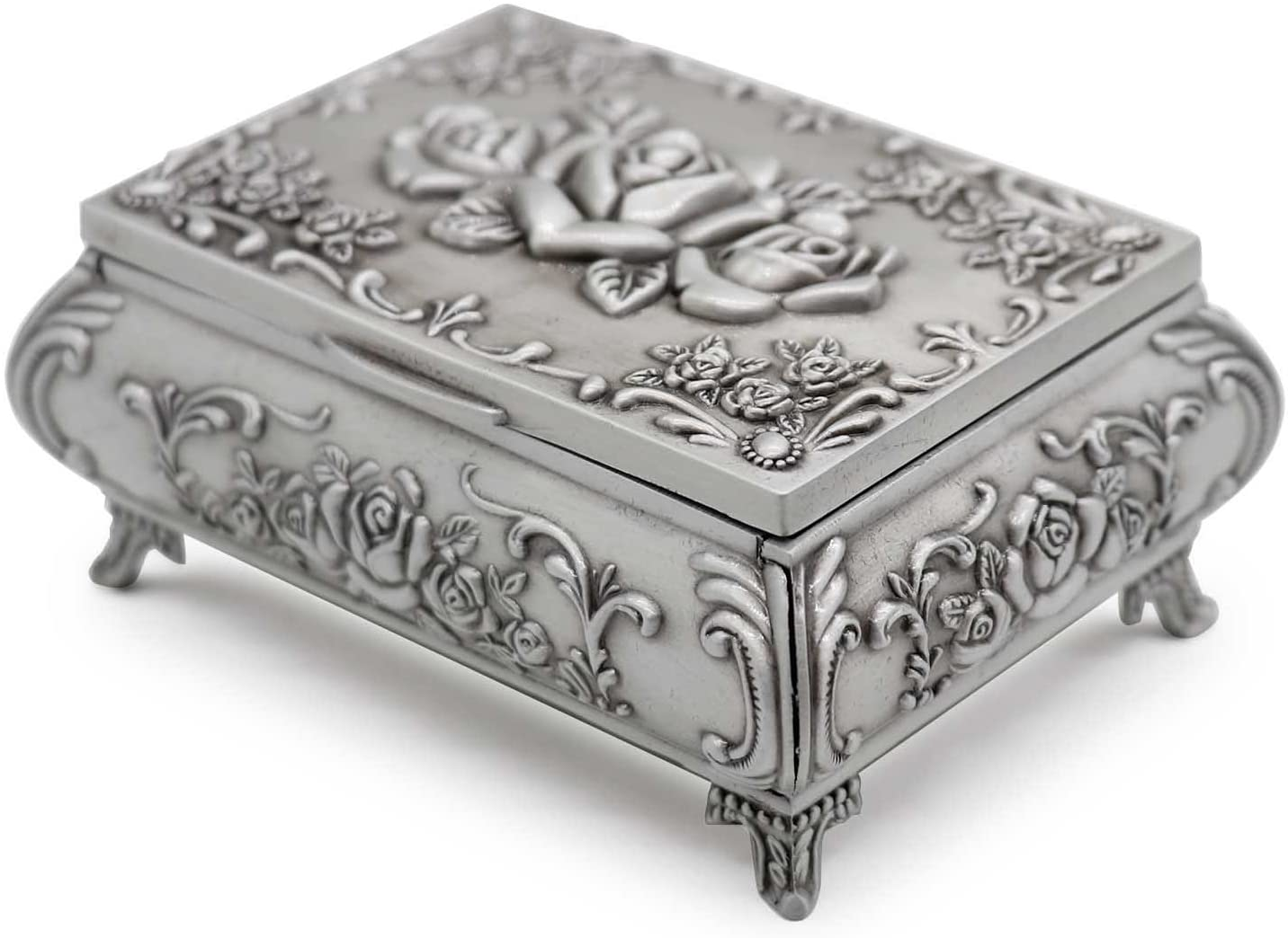 AVESON Rectangle Vintage Metal Jewelry Box Trinket Storage Organizer Gift Box Chest Ring Case with Rose Pattern for Girls Ladies Women, Small