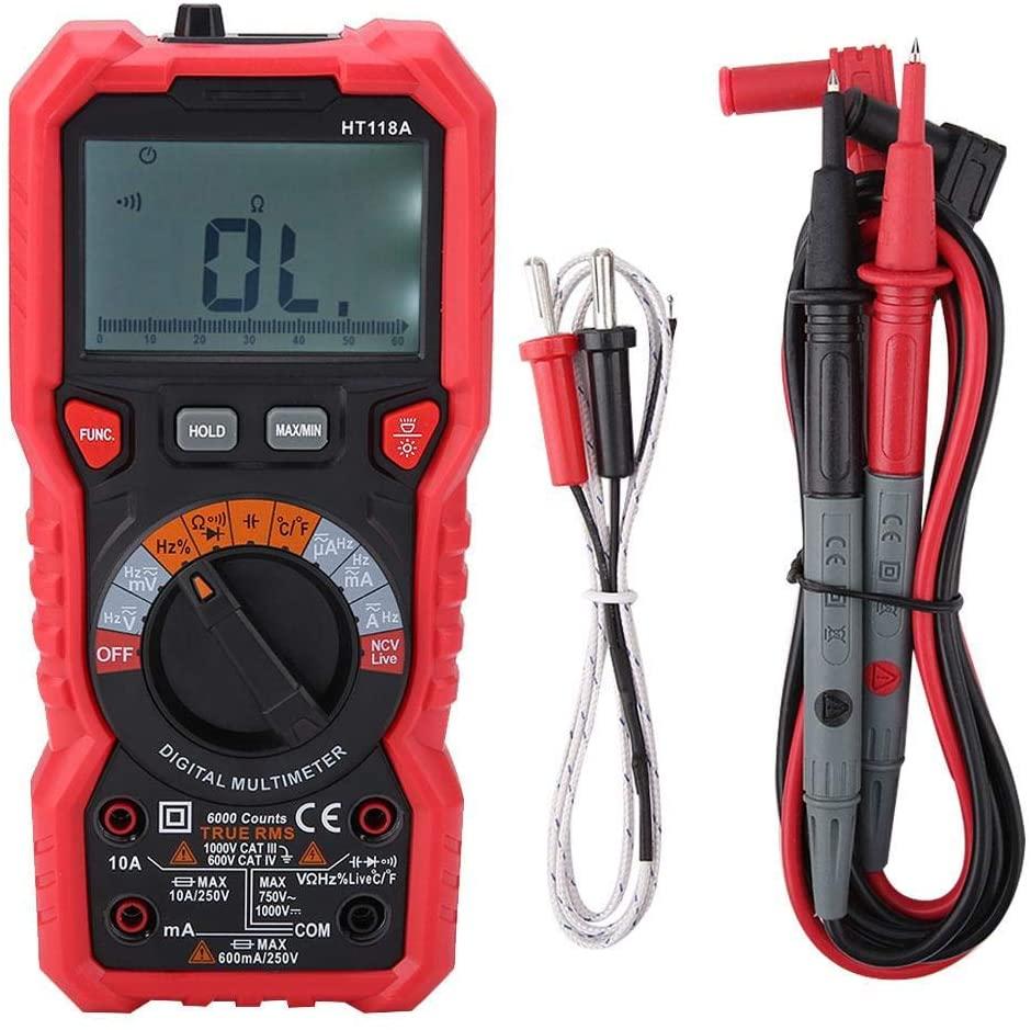 HT118A Digital Multimeter, AC/DC Handheld Multimeter Handheld Multimeter Tester NCV Multimeter Voltage Amp Ohm Capacitance Hz Temp Tester with Flashlight, Multimeter Tester LCD