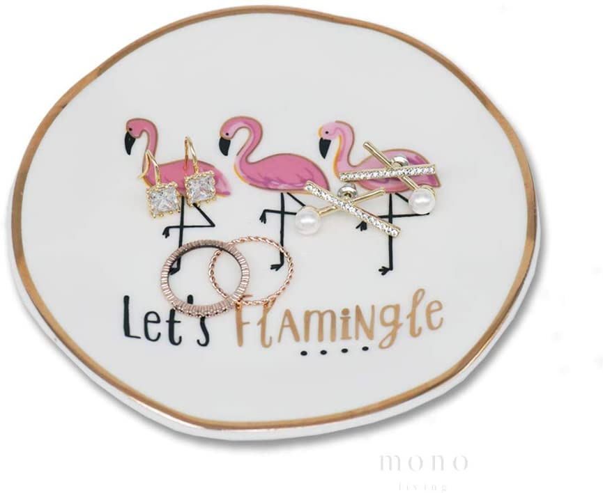 mono living Flamingo Let's Flamingle Ring Dish Jewelry Ring Holder Gift Earring Trinket Tray Necklace Bracelet Tower Birthday Housewarming Gift for Her Girlfriend Aunt Teen Girl Women